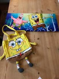 Sponge bob picture and bag
