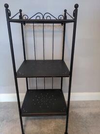 Attractive metal/glass shelf, shelving unit, 1metre high
