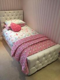 Designer Upholstered Single Faux Leather Bedstead with Diamanté Crystals