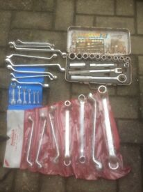 Assorted open ended and ring spanner's + socket set