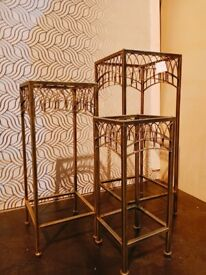 Ex Display Set of 3 Tall Slim Display Stand / Table with Glass Top & Metal Frame (Set was £130)