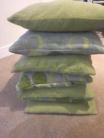 Green sofa pillows