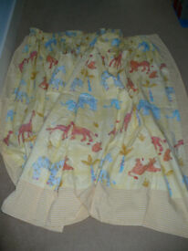 """Extra wide kids curtains, lined, 60"""" (drop) x 117"""" (width). Animals pattern. Unisex. Bay window."""