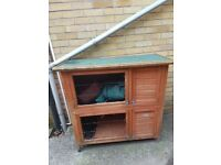 double rabbit hutch with accessories