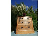 Hand built antique pine chest of drawers.