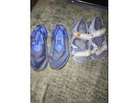 Boys size 8 sandals and swim shoes