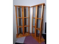TWO WOODEN FREE STANDING CD TOWER RACK HOLDER ORGANIZER DISPLAY