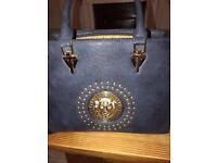Versace style navy bag