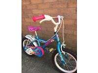 Halfords apollo pom pom 14inch girls bike, turquoise, pink and white