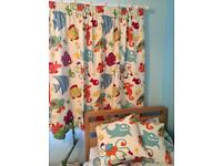 Children's linen black out curtains and matching cushions