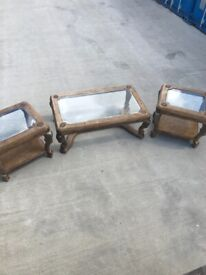 Set Of 3 Ornately Carved Wood And GlassTables. Excellent Condition. Can Deliver