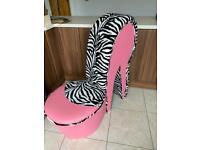 High heel zebra chair