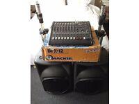 Mackie SRM 450 v1 (pair) + Mackie DFX12 Mixer + Quiklok stands