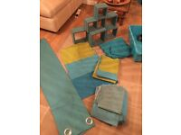 Teal bedding,curtains and wall mount boxes for sale