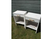 *** 2 x bedside tables white rope shabby chic rustic project- need some TLC! ***