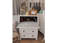Lovely shabby chic writing bureau with beautiful glass knobs by Eclectivo