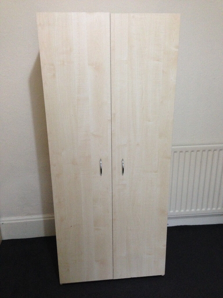 Elemental Maple 2 Door Wardrobe - Excellent - New condition - Shelf - Rail - North East Delivery