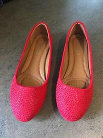 Red Sparkly size 36 or 3.5 Girls Shoes Brand New