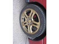 """Subaru Impreza 5x100 17"""" Gold Alloy Wheels & Tyres WRX STi RA Turbo 2000"""