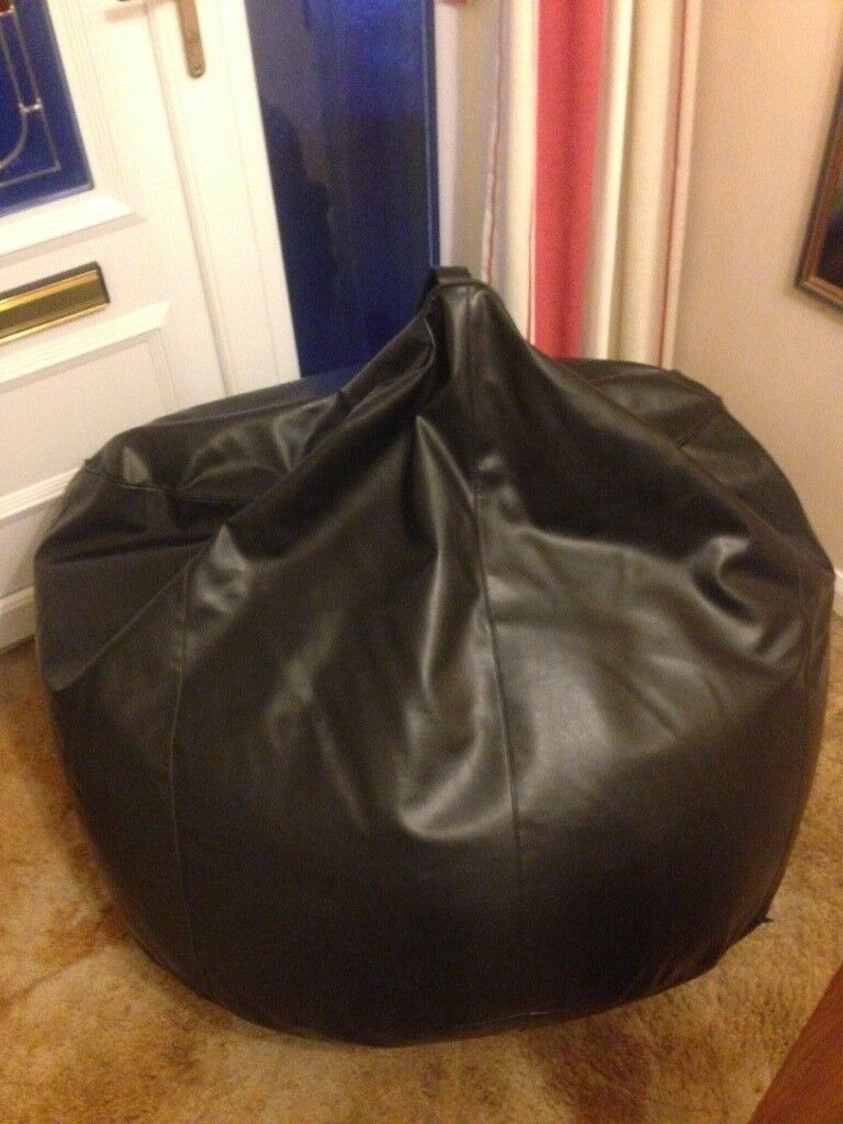 Large Faux Leather Black Bean Bag
