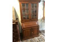 Stunning quality rosewood bureau display bookcase dresser