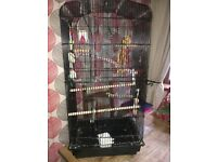 Large bird cage with accessories excellent condition