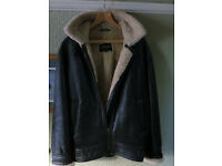 "LAKELAND ""SPITFIRE"" BROWN LEATHER FLYING JACKET WITH CREAM SHEEPSKIN LINING, MEN'S 38"" CHEST"