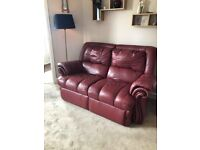 Leather sofa and 2 reclining chairs, red, good condition