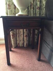 2 Mahogany colour lamp tables with single drawer