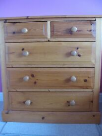 Solid pine drawers and Flexa single bed