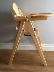 CHILDS HIGH CHAIR IN PINE BY WEAVERS - TABLE FOLDS BACK.