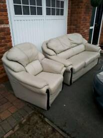 Leather 3 seater setee and chair