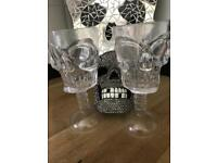 2 x SKULL Clear Plastic Wine glasses Halloween