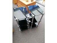 2 x Black Glass three-tier side tables