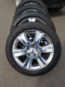 DODGE JOURNEY / GRAND CARAVAN  FACTORY OEM 19 INCH CHROME CLAD ALLOY WHEELS WITH KUMHO PERFORMANCE 225 / 55  / 19 TIRES