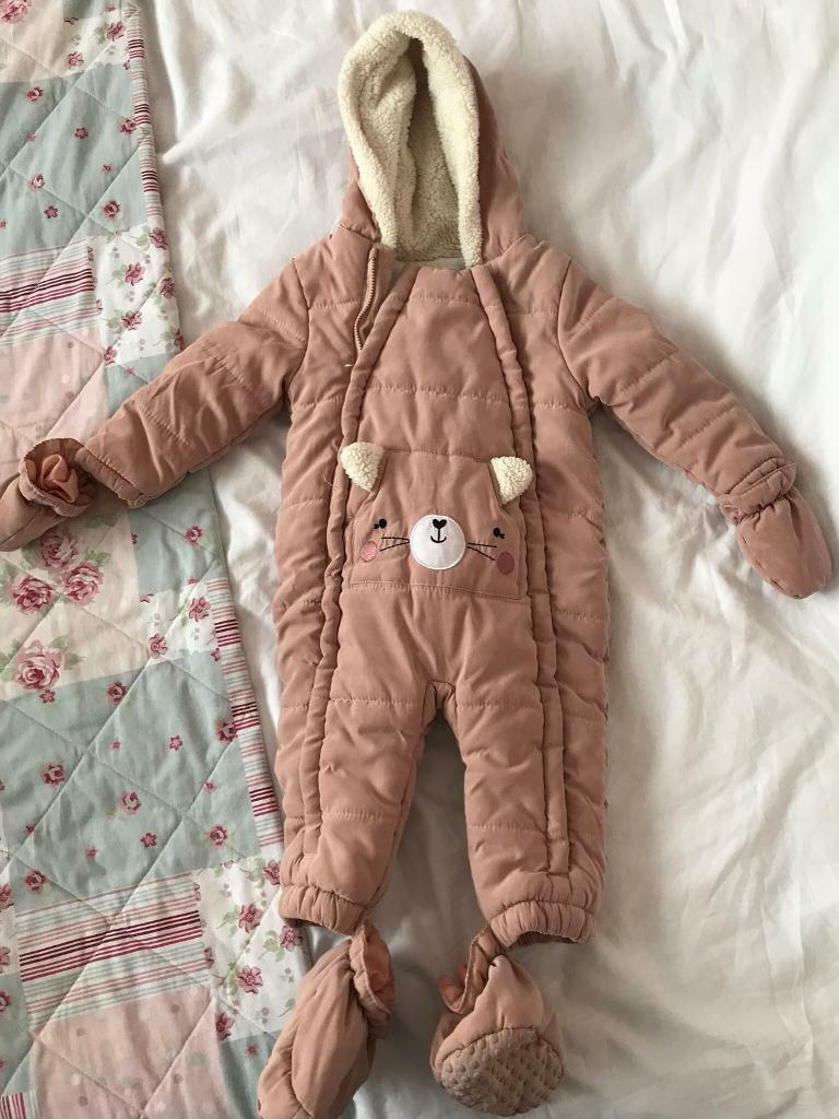 ba430f4fe 9/12 Months Old Baby Girls Snowsuit/All In One Coat In Good Condition!