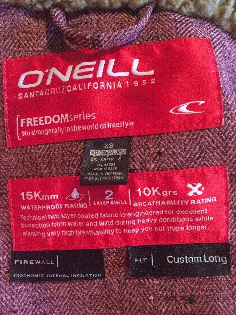 Ladies XS O'Neill Ski / Snow Jacket, orange and brown