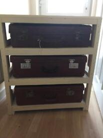 Vintage suitcase stand/shelving