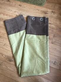 Dunelm green and brown curtains