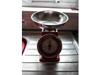 Red metal kitchen scales