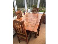 Rustic, Butterfly Dining Table and 4no Chairs