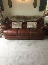 3 Seater Brown. Grade 9 Leather moterised recliner