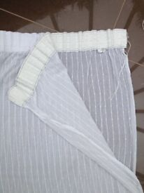 Pair of Semi-Sheer White Cotton Curtains (2.15m in length)