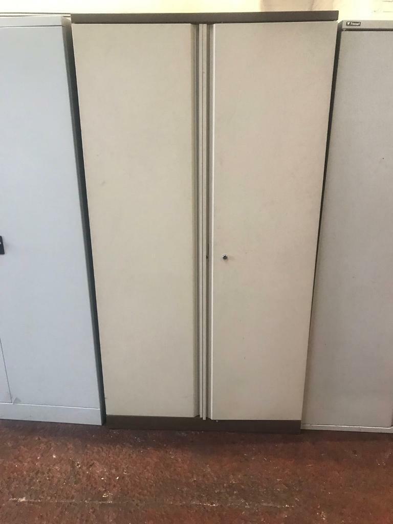 Beige Brown Double Door Metal Storage Cabinet In Smithdown