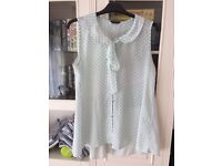 White blouse green polka dots size 12-14 work office casual summer 60s ladies