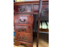 Antique Mahogany Pedestal Regency Style Desk with matching Chair