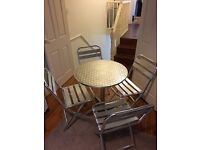 Bistro table and 4 folding chairs