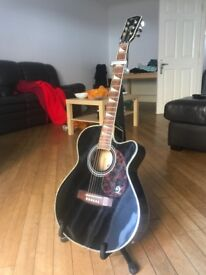 Lindo Black Cutaway Electric-Acoustic Guitar (COMES WITH Strap, Capo, Case, Pick holder)