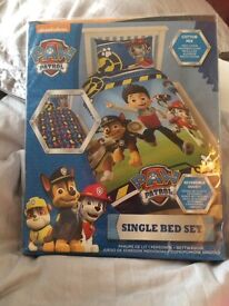 Kids single paw patrol duvet brand new