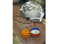 Basketball net and two nearly new basketballs